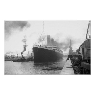 Titanic at the docks of Southampton Poster