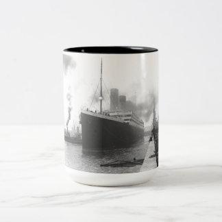 Titanic at the docks of Southampton Two-Tone Coffee Mug