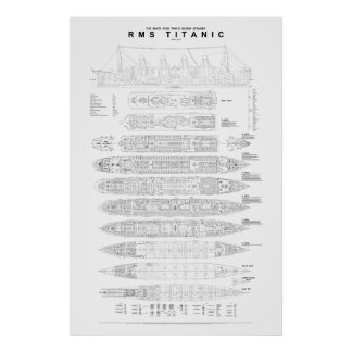Titanic General Arrangment Plan Poster