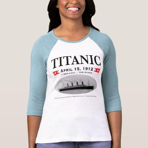 Titanic Ghost Ship Ladies 3/4 Sleeve Raglan Fitted Tee Shirts