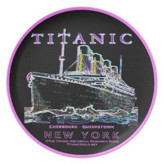 Titanic Neon (black) (hot pink border) Melamine Plate