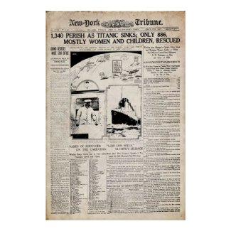 Titanic New York Tribune Newspaper Reprint