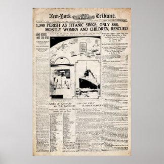Titanic New York Tribune Newspaper Reprint Print