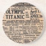 Titanic Newspaper Ad Drink Coasters