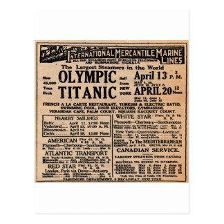 Titanic Newspaper Ad Post Card