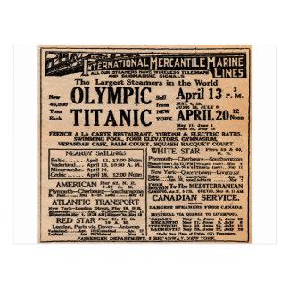 Titanic Newspaper Ad Postcard