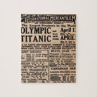 Titanic Newspaper Ad Jigsaw Puzzle
