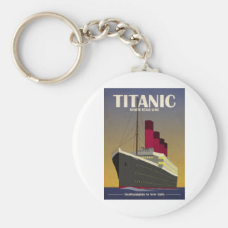 Titanic Ocean Liner Art Deco Print Key Chain