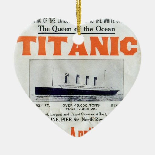Titanic Queen Of The Ocean Poster Double-Sided Heart Ceramic Christmas Ornament