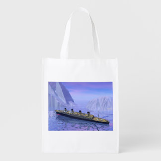 Titanic ship sinking - 3D render Grocery Bag