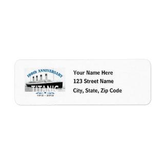 Titanic Sinking 100 Year Anniversary Custom Return Address Label