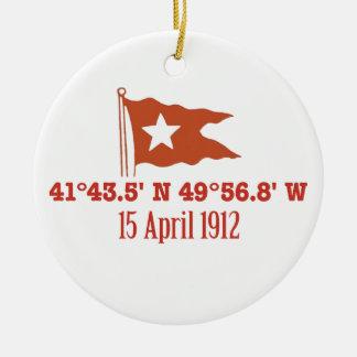 Titanic Sinking GPS Coordinates & White Star Flag Ceramic Ornament