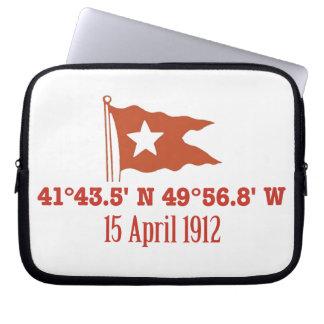 Titanic Sinking GPS Coordinates & White Star Flag Computer Sleeve