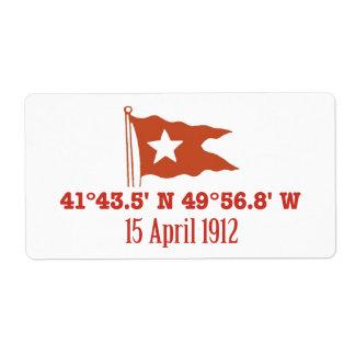 Titanic Sinking GPS Coordinates & White Star Flag Label