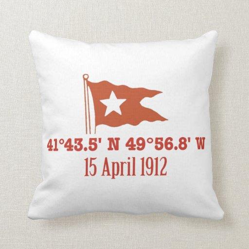 Titanic Sinking GPS Coordinates & White Star Flag Pillow