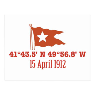 Titanic Sinking GPS Coordinates & White Star Flag Post Card