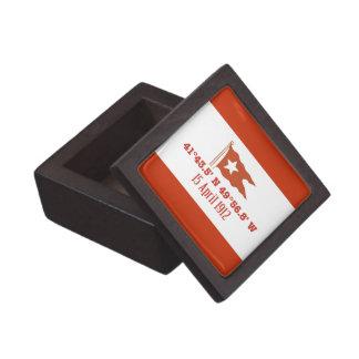Titanic Sinking GPS Coordinates & White Star Flag Premium Gift Box
