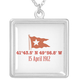 Titanic Sinking GPS Coordinates & White Star Flag Silver Plated Necklace