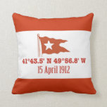 Titanic Sinking GPS Coordinates & White Star Flag Throw Pillow