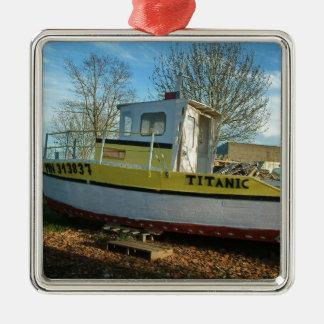 Titanic Tug Square Metal Christmas Ornament
