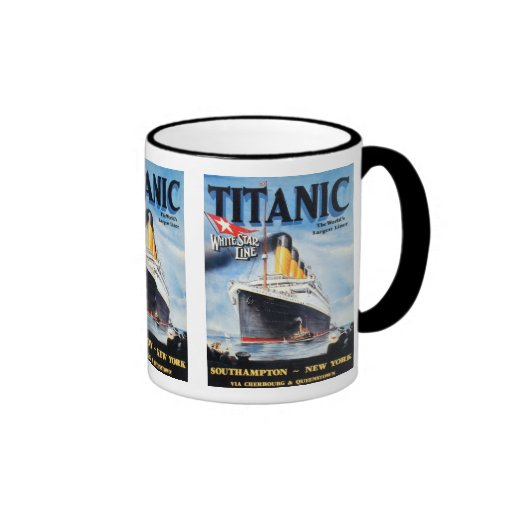 Titanic White Star Line Poster Ringer Coffee Mug