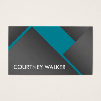 Titanium and turquoise bold angles business cards