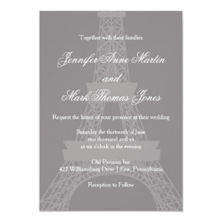 Titanium and White Paris Eiffel Tower Wedding Card