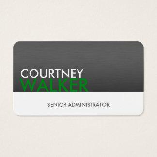 Titanium & green modern professional business card
