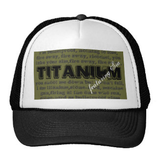 Titanium song design with olive background trucker hat
