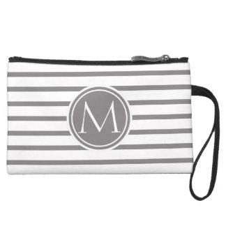 Titanium Thin Stripes Pattern and Monogram Suede Wristlet Wallet