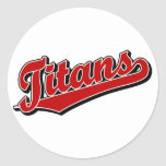 Titans in Red Round Stickers