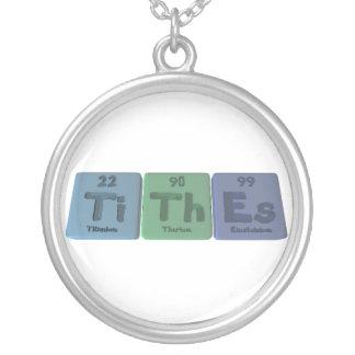Tithes-Ti-Th-Es-Titanium-Thorium-Einsteinium.png Round Pendant Necklace