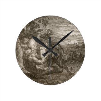 Tithonus, Aurora's Husband, Turned into a Grasshop Round Clock