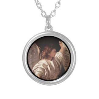 Titian Angel with  Banner Silver Plated Necklace
