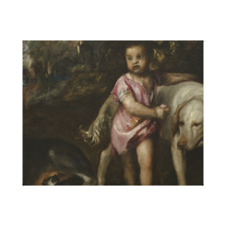 Titian - Boy with Dogs in a Landscape Canvas Print