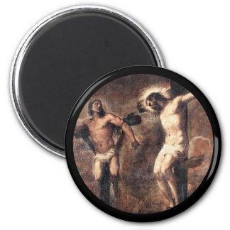 Titian Christ and the Good Thief 2 Inch Round Magnet