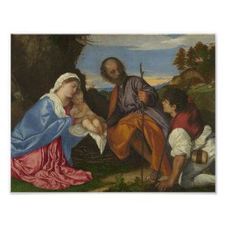 Titian - la familia santa con un pastor cojinete