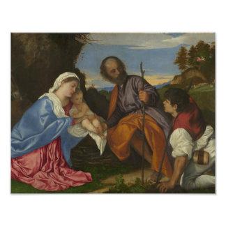 Titian - la familia santa con un pastor fotografías