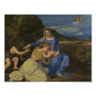 Titian - la Virgen y el niño con el niño Cojinete