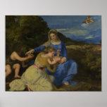 Titian - la Virgen y el niño con el niño Póster