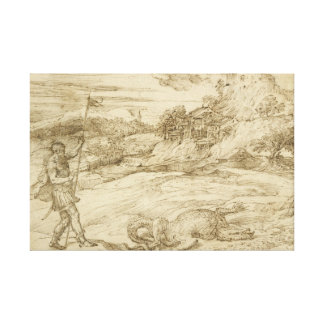 Titian - Landscape with St. Theodore Overcoming Canvas Print
