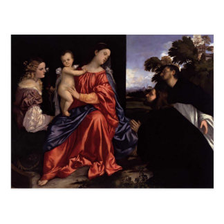 Titian- Madonna and Child with Saints Postcard