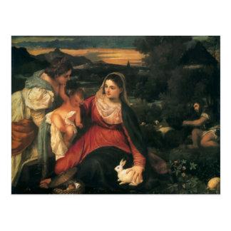Titian- Madonna, Child, St. Catherine & a Rabbit Postcard