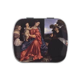 Titian- Madonna y niño con los santos Jarrones De Dulces