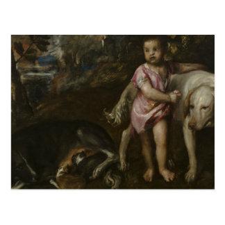 Titian - muchacho con los perros en un paisaje postal