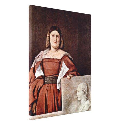 Titian - Portrait of a woman (La Schiavona) Stretched Canvas Prints