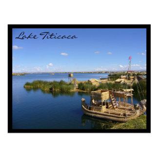 titicaca lake boats postcard