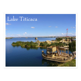 titicaca uros boats postcard