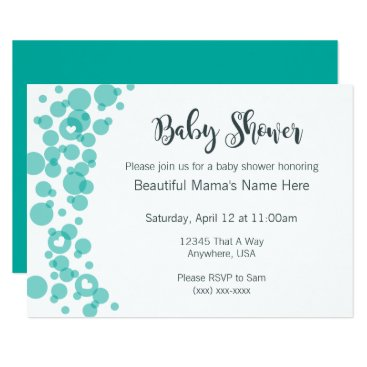 USA Themed Title Baby Bubbles Shower Invitation Teal