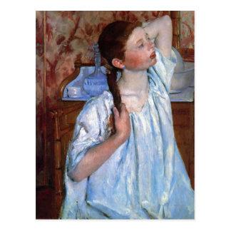 Title: Girl Arranging Her Hair Date: 1886 Cassatt, Postcard